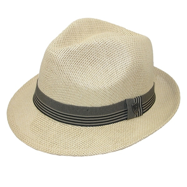 Dorfman Pacific Men's Toyo Straw Fedora with Ribbon Band