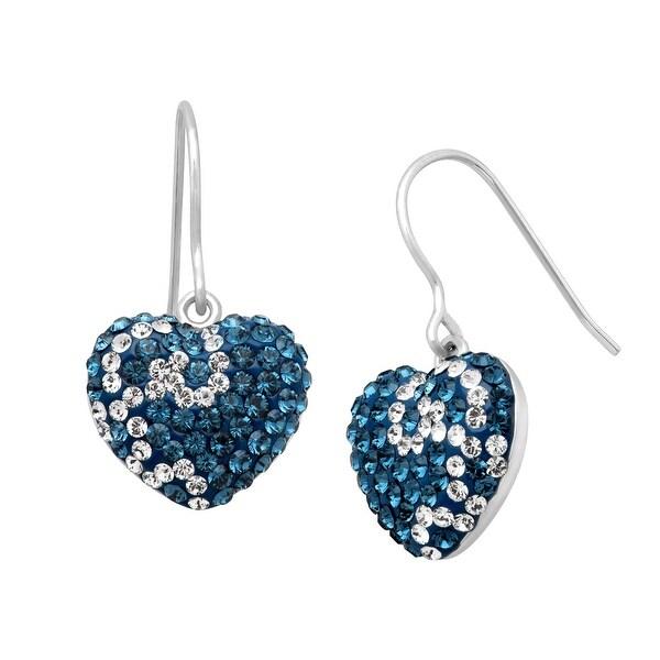 Crystaluxe Swirl Heart Drop Earrings with Swarovski Crystals in Sterling Silver - Blue