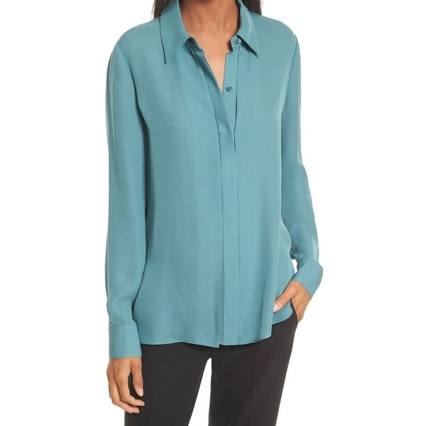 50af57776e71fb Shop Vince. Teal Green Womens Size 4 Silk Button Down Long Sleeve ...