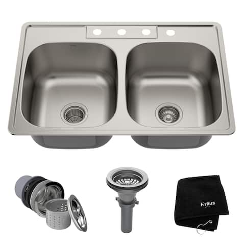 KRAUS Stainless Steel 33 inch 50/50 Topmount Drop-in Kitchen Sink