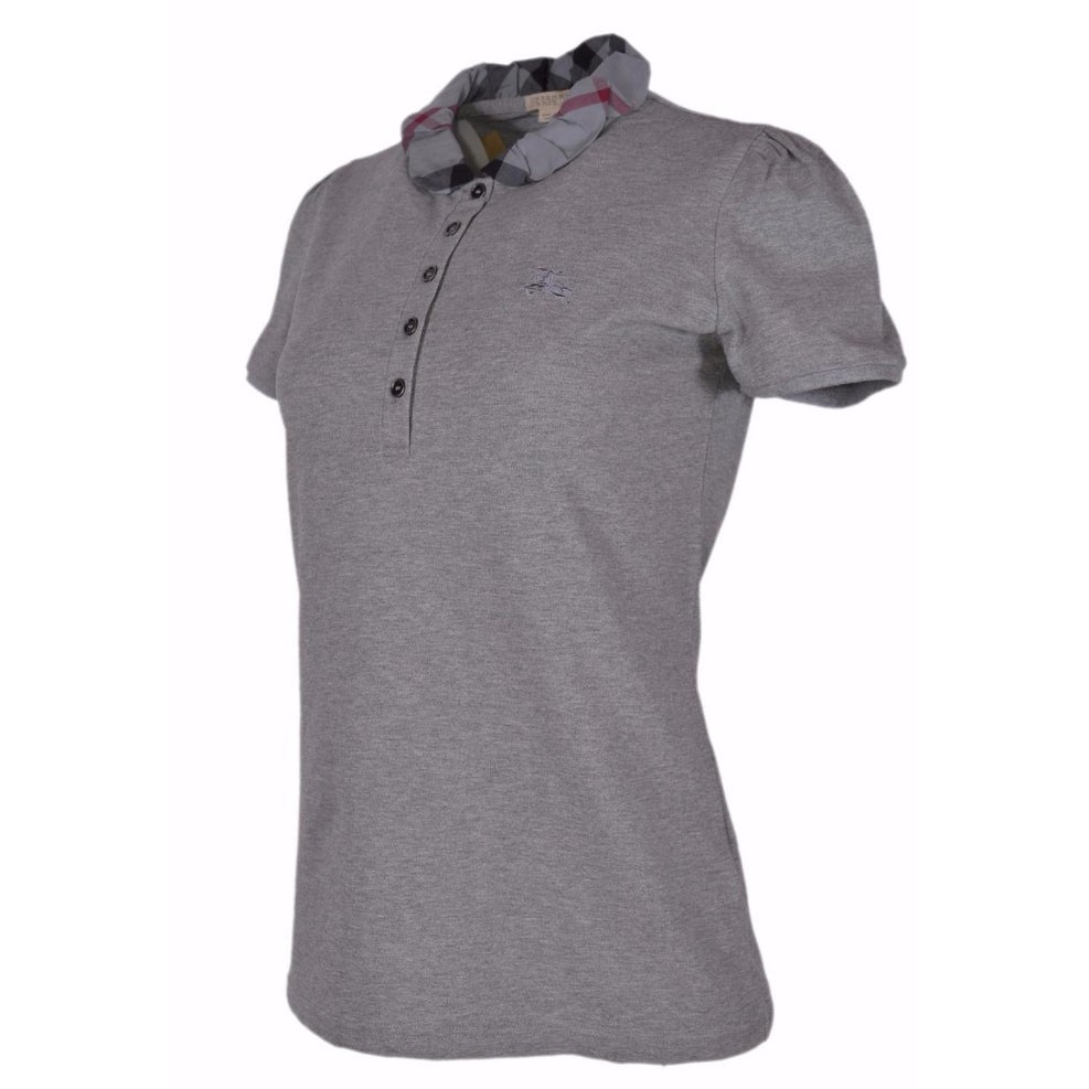9accf1f2403 Shop Burberry Brit Women's Grey Cotton Nova Check Polo Shirt S - Free  Shipping Today - Overstock - 18506483