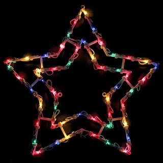 """18"""" Lighted Star Christmas Window Silhouette Decoration"""