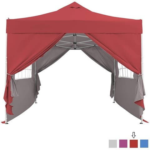 10x10 Pop-Up Canopy Tent with Full Sidewall Canopies Shelter Instant Tent Windproof with Water Flow Hole