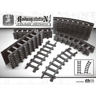 12 Sections of Straight Plus 12 Curved Train Tracks Building Block