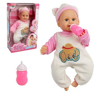 Costway 16'' Baby Doll Lifelike Blow Kiss Making 5 Sounds Infant Toy w/ Feeding Bottle
