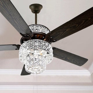 """Silver Orchid March Silver Punched Metal and Clear Crystal Ceiling Fan - 52""""L x 52""""W x 21""""H"""
