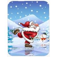Christmas Santa Claus Ice Skating Mouse Pad, Hot Pad or Trivet