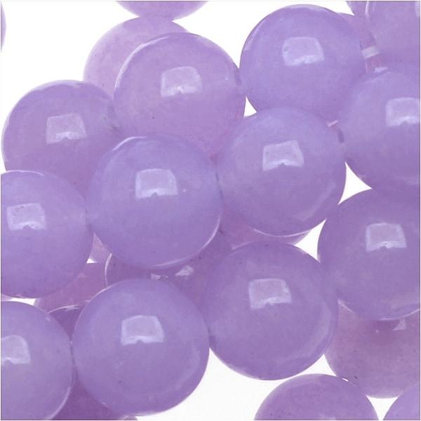 Candy Jade Gemstone Beads, 6mm Round, 15 Inch Strand, Light Purple