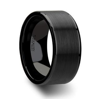 THORSTEN OCTAVIUS Flat Black Ceramic Ring With Brushed Center Polished Edges 10 Mm