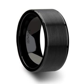 THORSTEN - OCTAVIUS Flat Black Ceramic Ring with Brushed Center & Polished Edges - 10 mm