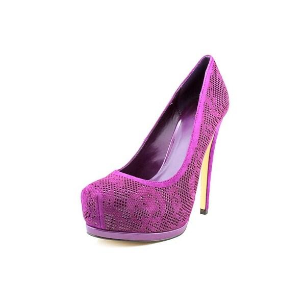 Truth or Dare by Madonna Langlade Women Open Toe Suede Purple Platform Heel