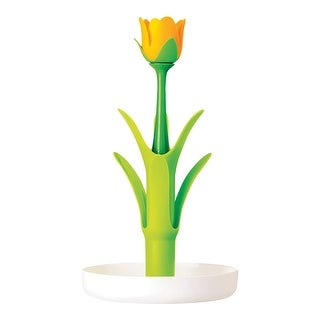 Vigar America Flower Power Glass Drainer - 6 Mug Capacity Floral Shaped Cup Drying Kitchen Accessory - Green And White - 15 in.