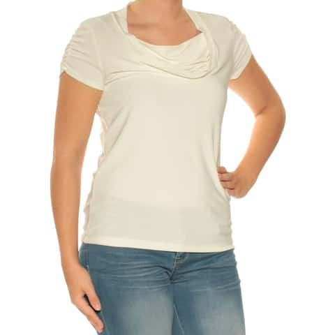 TAHARI Womens White Cap Sleeve Cowl Neck Top Size: S