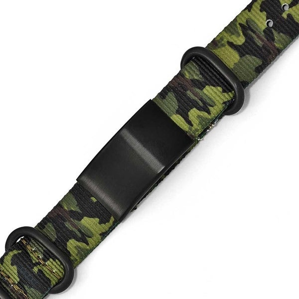Chisel Stainless Steel Satin Black IP Green Camo Fabric Adjustable ID Bracelet