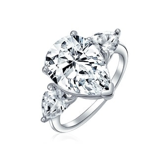 7CT 925 Sterling Silver Trillion AAA CZ Pear Teardrop Engagement Ring