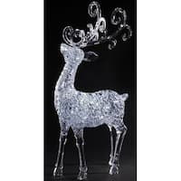 "35"" LED Clear Lighted ""Winter's Crystal"" Christmas Buck with Removable Antlers"