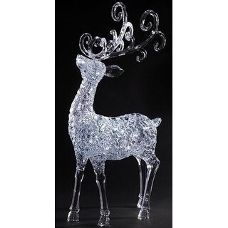 35 LED Clear Lighted Winters Crystal Christmas Buck with Removable Antlers