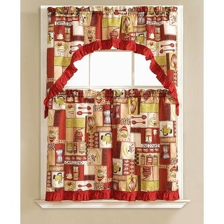 Glenda Embroidered 3-Piece Kitchen Curtain Swag & Tiers Set, Burgundy, 60x56 & 30x36 Inches - N/A