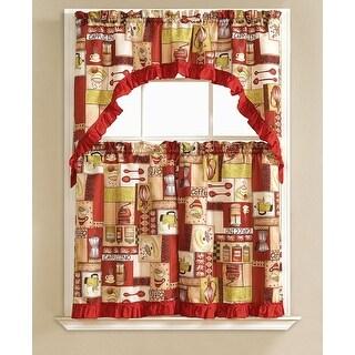 Glenda Embroidered 3-Piece Kitchen Curtain Swag & Tiers Set, Burgundy, 60x56 & 30x36 Inches