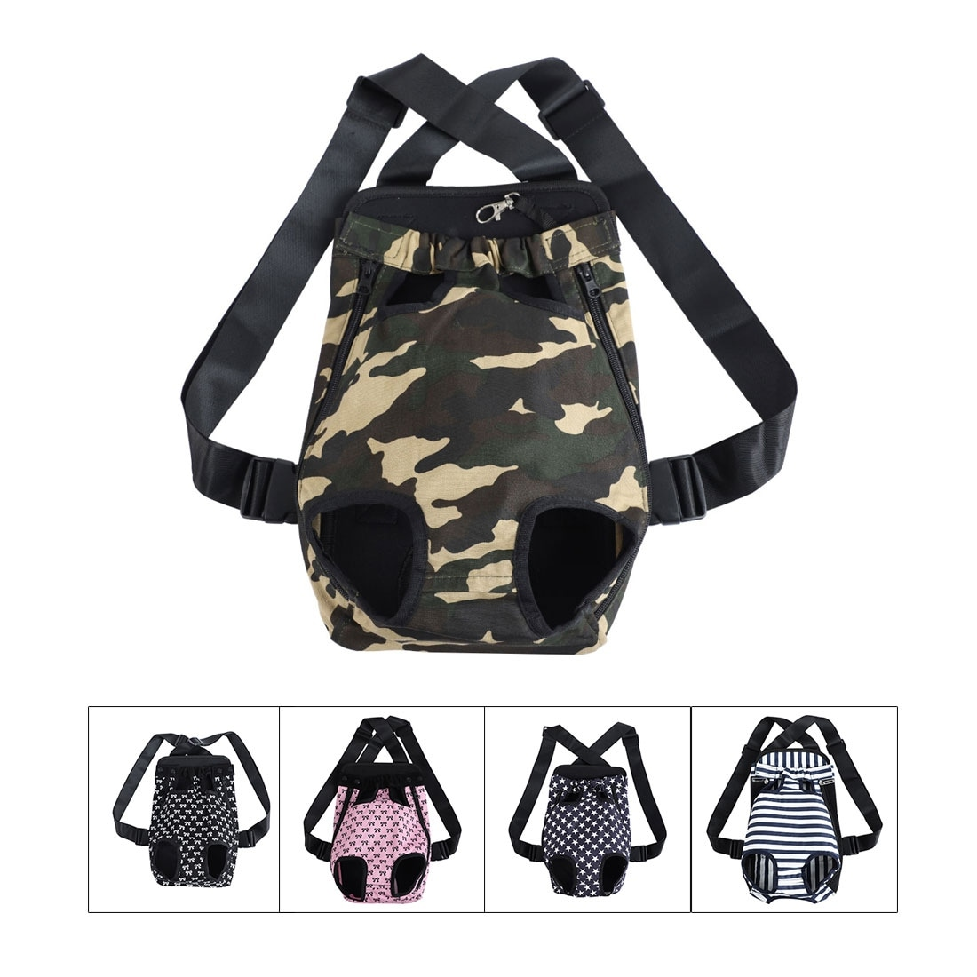 Pet Dog Carrier Front Chest Backpack Pet Cat Puppy Holder Bag Outdoor Travel (Camo – M)