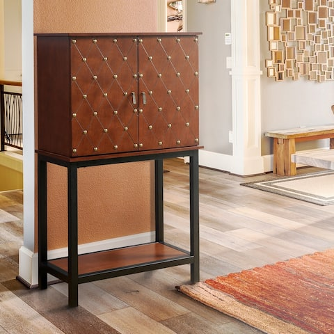 Furniture of America Aivo Transitional Cherry Solid Wood Wine Cabinet