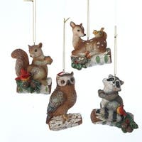 """Pack of 12 Enchanted Forest Owl, Deer, Raccoon & Squirrel Woodland Animal Christmas Ornaments 3.25"""" - brown"""