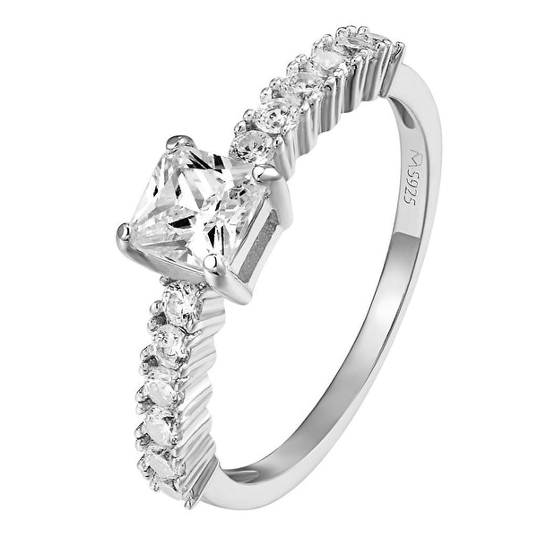 Womens 925 Sterling Silver Princess Cut Solitaire Promise Ring Wedding Bridal