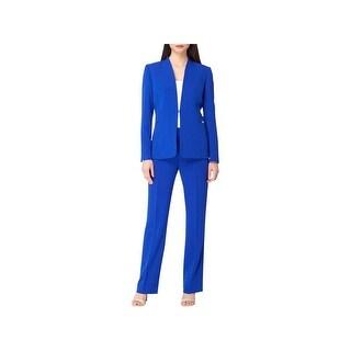 Tahari Womens Petites Pant Suit Collarless Blazer Flat Front - 0p