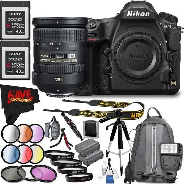 Nikon D850 DSLR Camera (Body Only) 1585 International Model + Nikon AF-S DX NIKKOR 18-200mm f/3.5-5.6G ED VR II Lens Bundle