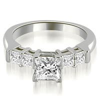 0.90 ct.tw 14K White Gold Princess Cut Bar-Set Diamond Engagement Promise Ring HI, SI1-2
