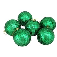 "6ct Jade Green Mirrored Glass Disco Ball Christmas Ornaments 3.25"" 80mm"