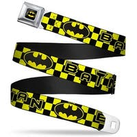 Batman Full Color Black Yellow Batman Logo Checkers Yellow Black Webbing Seatbelt Belt