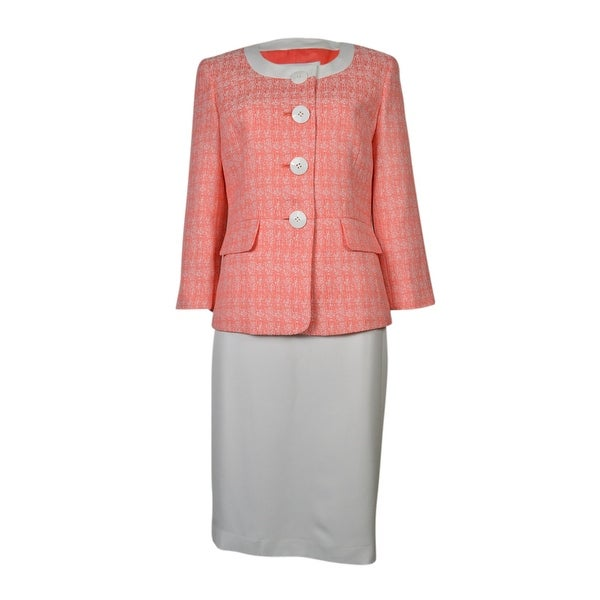 Le Suit Women's Tropical Blooms Woven Skirt Suit - papaya white/white