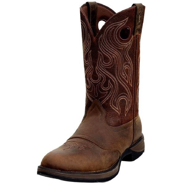 "Durango Western Boot Mens 12"" Rebel Saddle Round Toe Dark Brown"