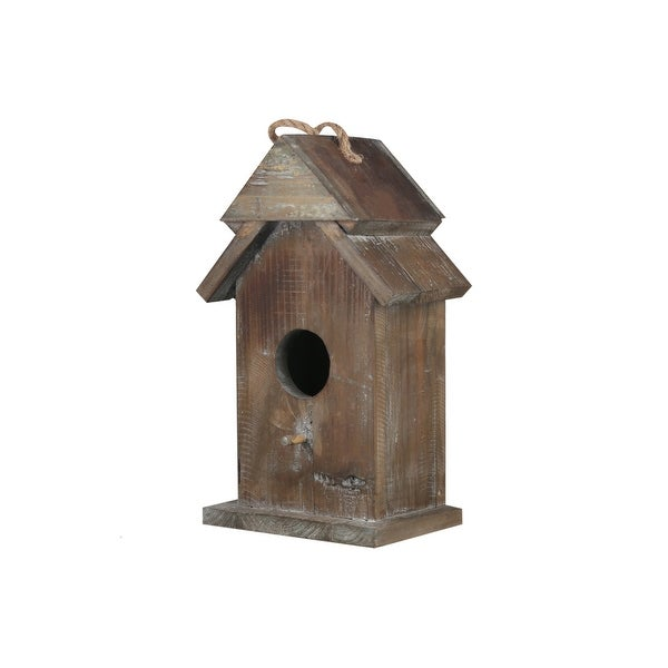 Wooden Bird House with Double Roof Design, Brown. Opens flyout.