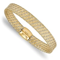 Italian 14k Two-Tone Gold Fancy Stretch Bangle Bracelet