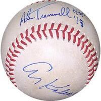 Alan Trammell  Al Kaline Dual signed Game Used Rawlings Official Minor League Baseball  w HOF 18  D