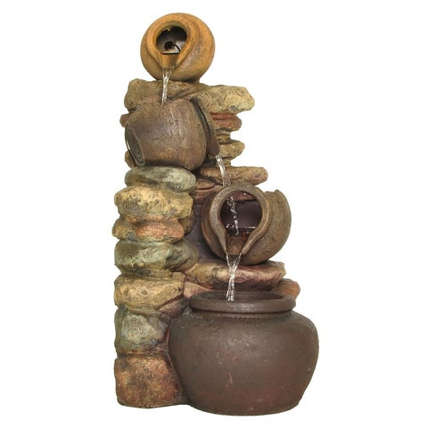 Zenvida Tiered Pot Cascading Waterfall Outdoor Garden Fountain 32""