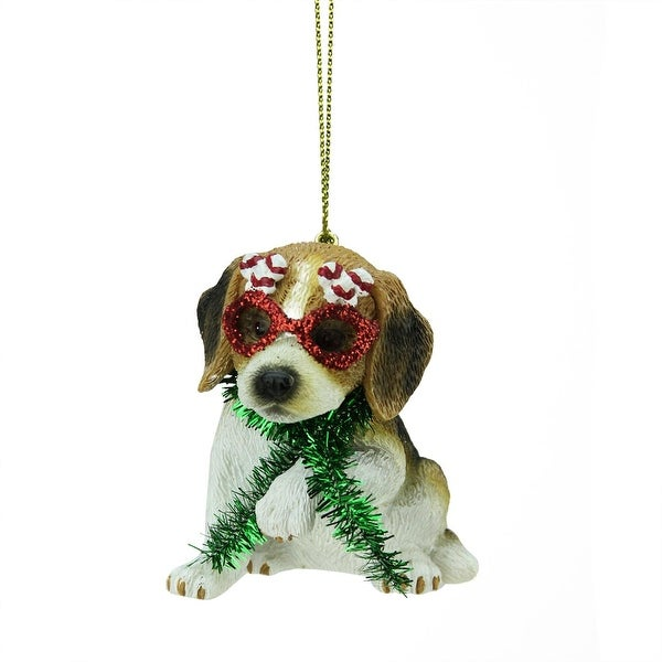 "2.75"" Beagle Puppy Dog Wearing Silly Glasses and Green Tinsel Scarf Christmas Ornament"