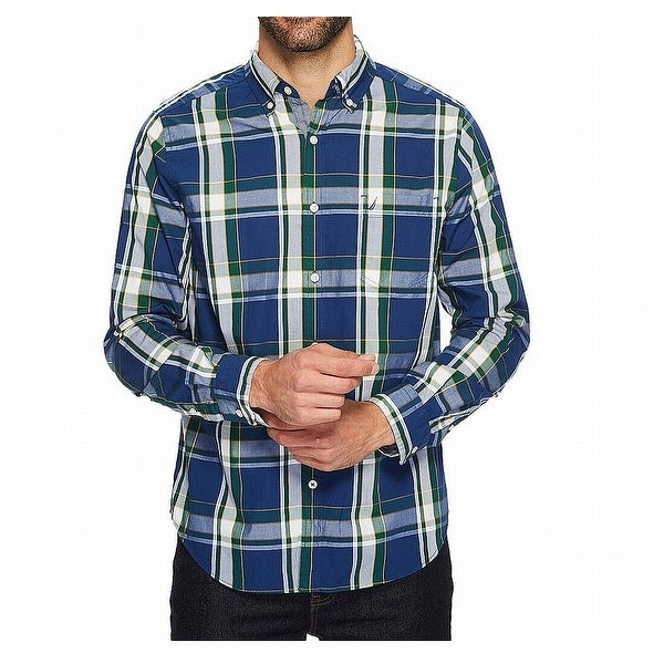 bd7ac68c Shop Tommy Hilfiger Blue Men Size 2XL Plaid Classic Fit Button Down Shirt - Free  Shipping On Orders Over $45 - Overstock - 22109903