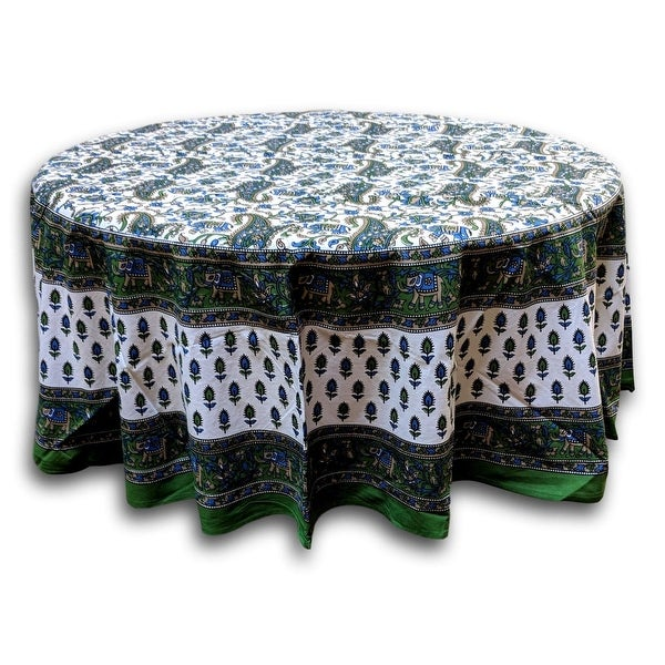 Elephant Print Cotton Floral Paisley Tablecloth Round 72 inches Green Blue