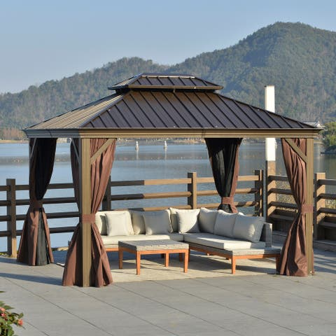 Outsunny 12' x 10' Outdoor Hardtop Patio Gazebo with Galvanized Steel Frame, Netting Sidewalls, Privacy Curtains, Brown