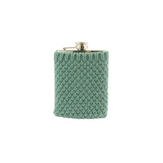 Stainless Steel Drinking Flask with Cozy Robin's Egg Blue Knit Sweater - 7 oz