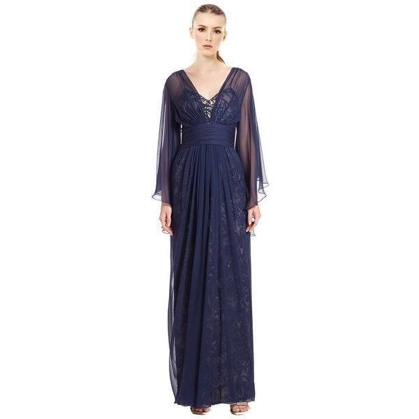 Shop Teri Jon Chiffon Over Lace Silk Chiffon Evening Gown Dress ...