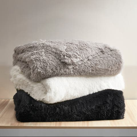 Leena Weighted Shaggy Fur Weighted Blanket by Beautyrest