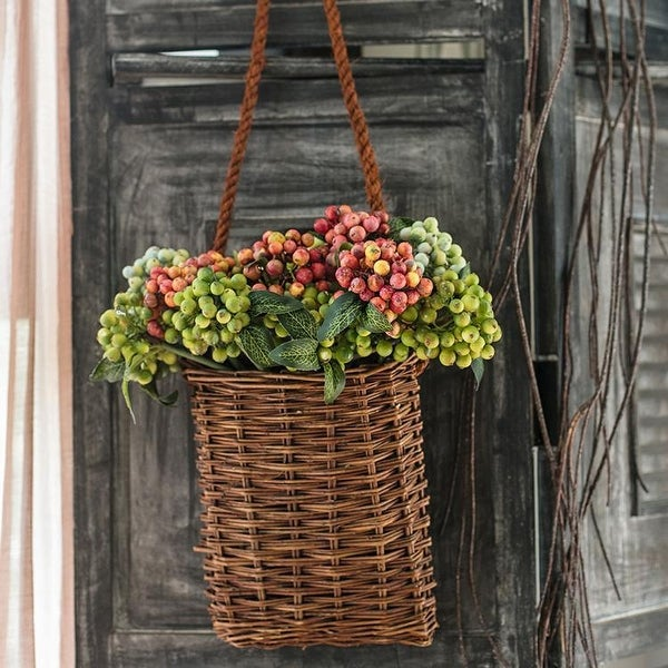 """RusticReach Artificial Berry Bunch Green and Orange Red 11"""" Tall"""