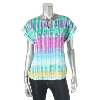 Calvin Klein Womens Blouse Chiffon Tie-Dye