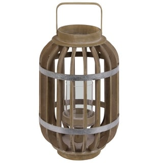 Wood Round Lantern with Lattice Design Body and Handle, Brown