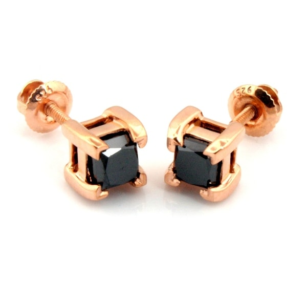 Fabulous Princess Cut Genuine Diamond Screw Back Stud Earring