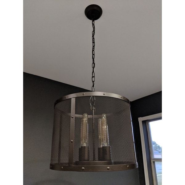 shop tiyosa black round mesh shade pendant with edison bulbs free